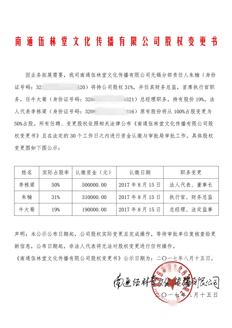 南通伍林堂文化传播有限公司股权变更告知书
